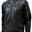Zipper Style Men's Black Leather Jacket - Sudeva