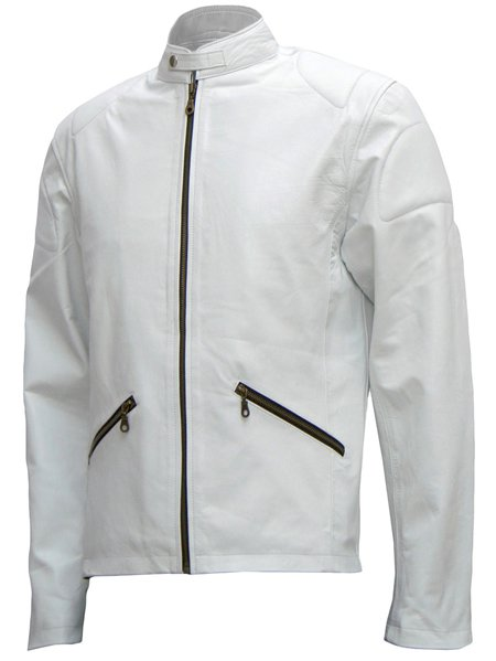 Cafe Racer White Leather Jacket Mens - Annan