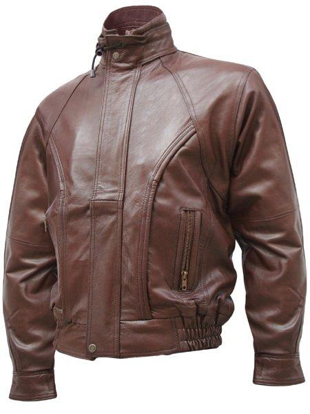 Contemporary Brown Men's Leather Bomber Jacket - Sadi