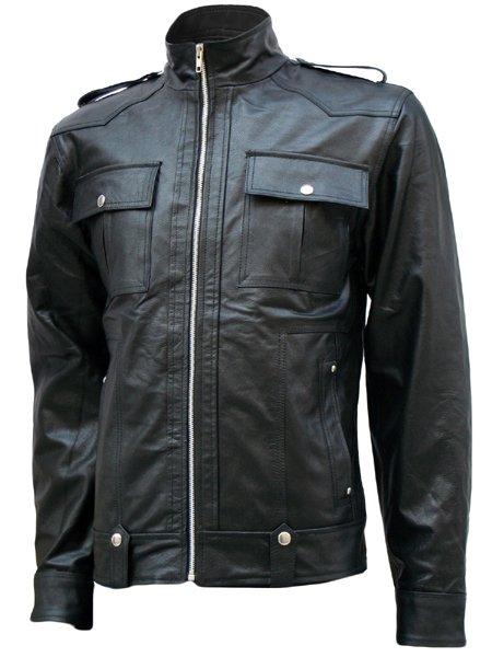 Flapper Pockets Black Leather Jacket Men - London
