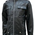 Flapper Pockets Black Leather Jacket Men - London
