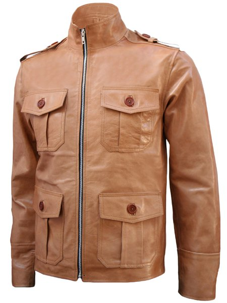 4 Pocket Men's Tan Leather Jacket - Lauper