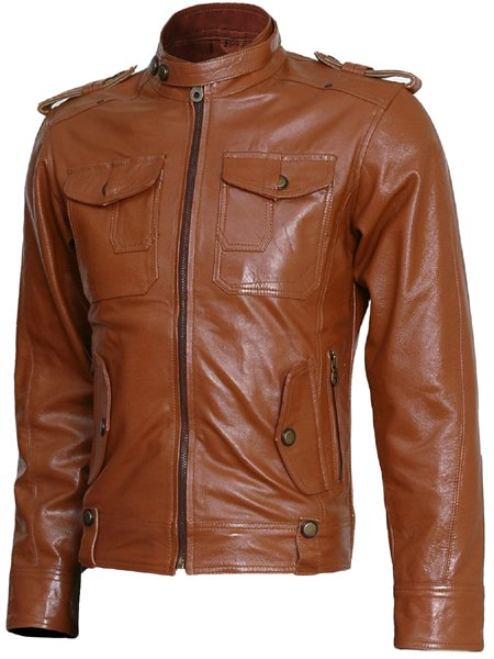 Winterwear Men Tan Leather Jacket - Browne