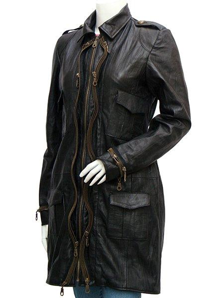 Golden Zipper Women Black Leather Coat - Baldwin