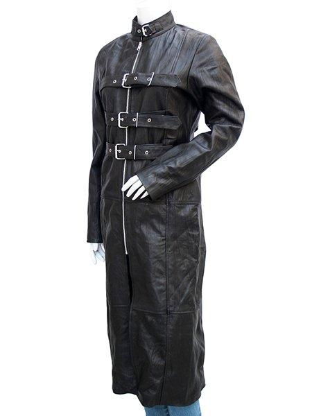Women's Black Trench Leather Coat - Carol