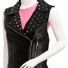 Studded Black Women Leather Motorcycle Vest - Zeneena