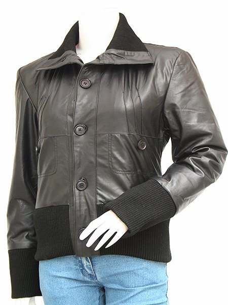 Black Leather Bomber Jacket Women - Aribb