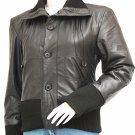 Black Leather Bomber Jacket Women - Aribb