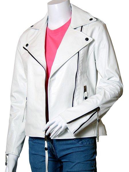Biker White Leather Jacket for Women - Voteporix