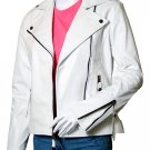 Biker White Leather Jacket for Women - Voteporix