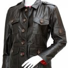Women's Biker Leather Varsity Jacket - Talbot