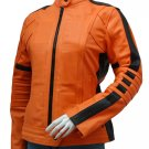 Women's Orange Leather Jacket - Salisbury