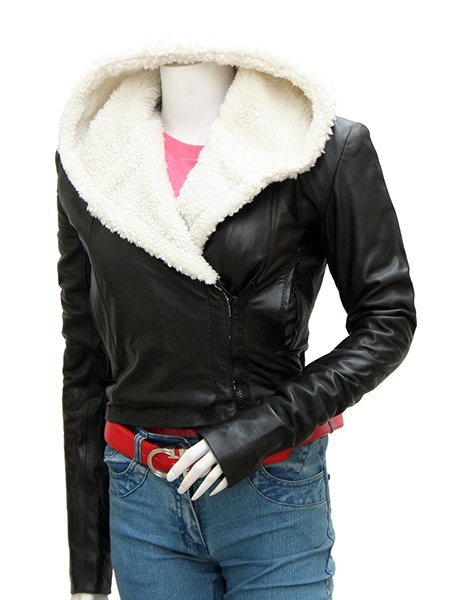 Women's Lovely Black Leather Jacket with Fur Collar - Abbie