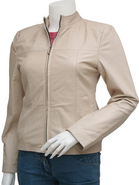 Gorgeous Biker Women Beige Leather Jacket - Farheen
