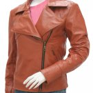 Stunning Pointed Collar Cognac Leather Jacket for Women - Kate