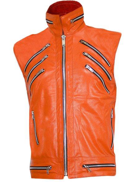 Orange Sleeveless Leather Jacket for Men - Ralf