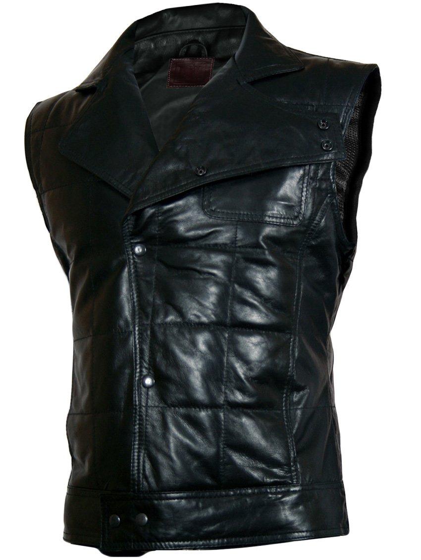 Quilted Black Leather Vest for Men - Bice