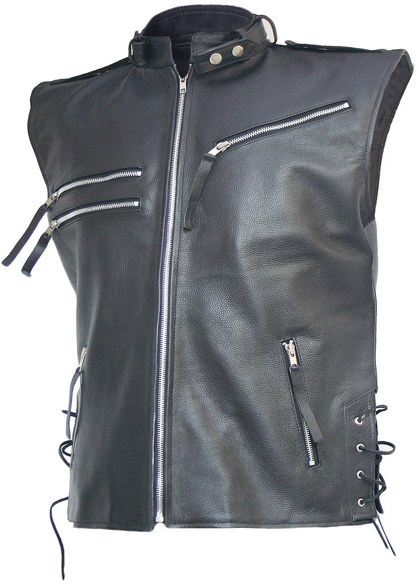 Men's Black Biker Leather Vest - Brody