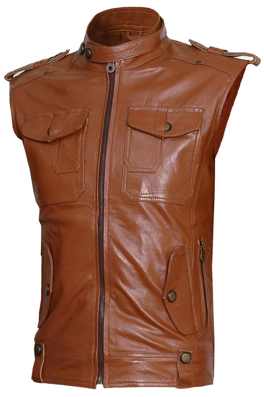 Biker Wear Men's Cognac Leather Vest - Tabb