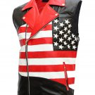 USA Flag Leather Motorcycle Vest for Men - Otieno