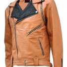 Tan & Black Draped Leather Jacket for Men - Takuma