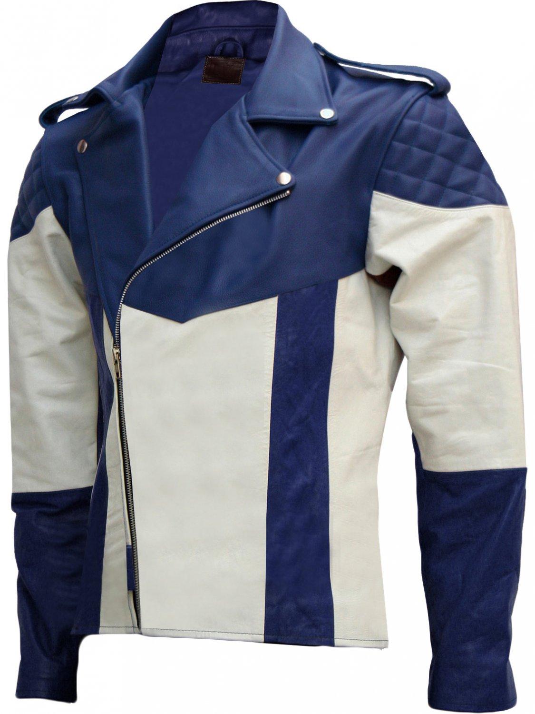 Men Blue & White Biker Leather Jacket - Salah