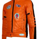 Men's Biker Style Orange Leather Jacket - Sahnan