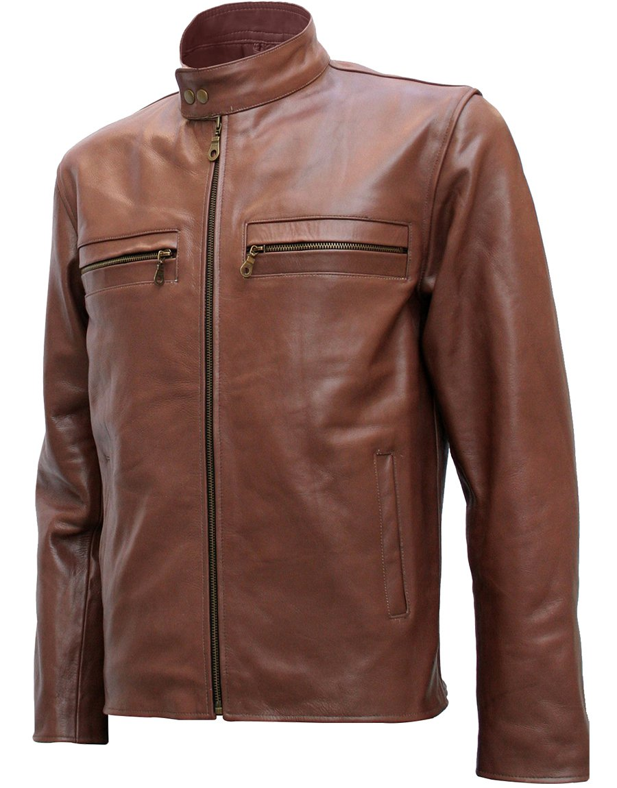 Fashionista Unique Brown Leather Jacket Men - Sizwe
