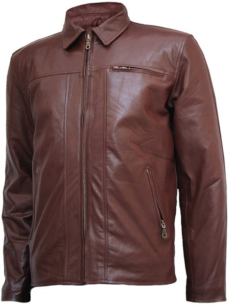Fashion Brown Leather Jacket for Men - Kellen