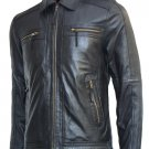 Biker Look Men's Black Leather Jacket - Grayson