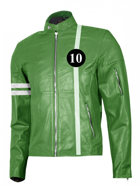 Green & White Ben 10 Leather Jacket