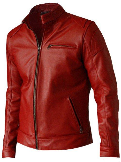 Elegant Men's Red Leather Jacket - Voteporix