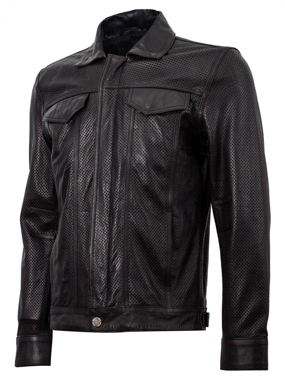 Summer Jacket - Leather Collar Biker Jacket in Black
