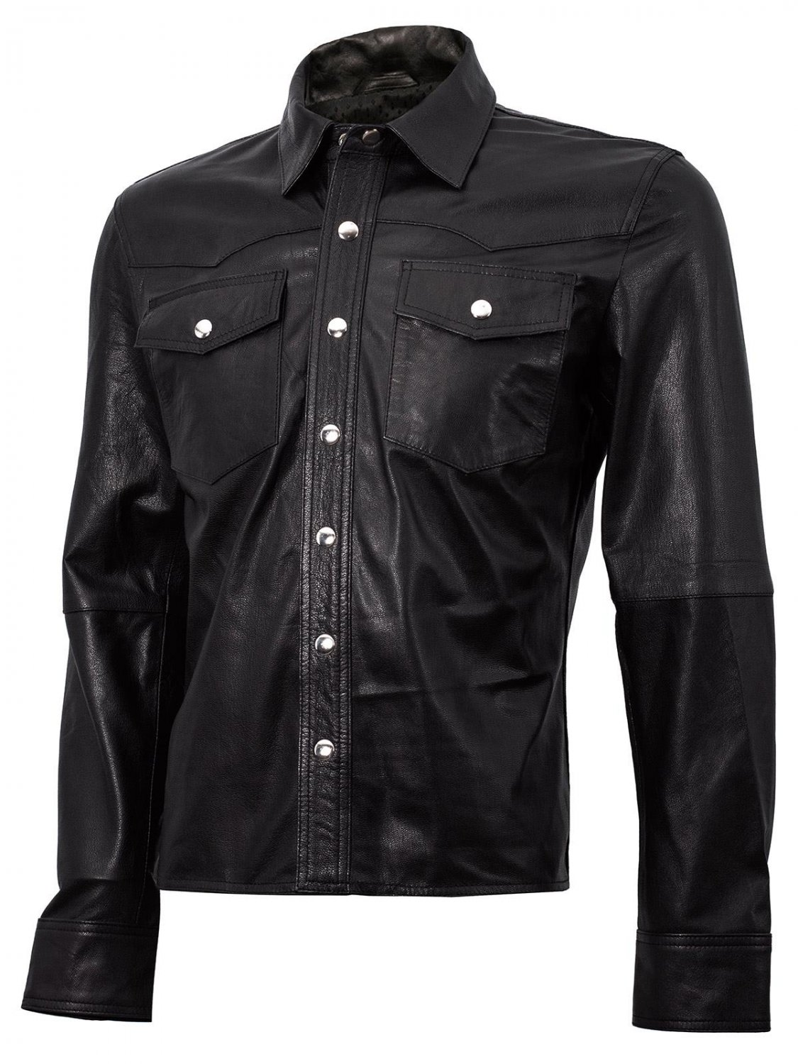 Summer Jacket - Leather Shirt in Black