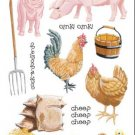 Pig Chicken Rooster Sticker Pack Scrapbook Stickers