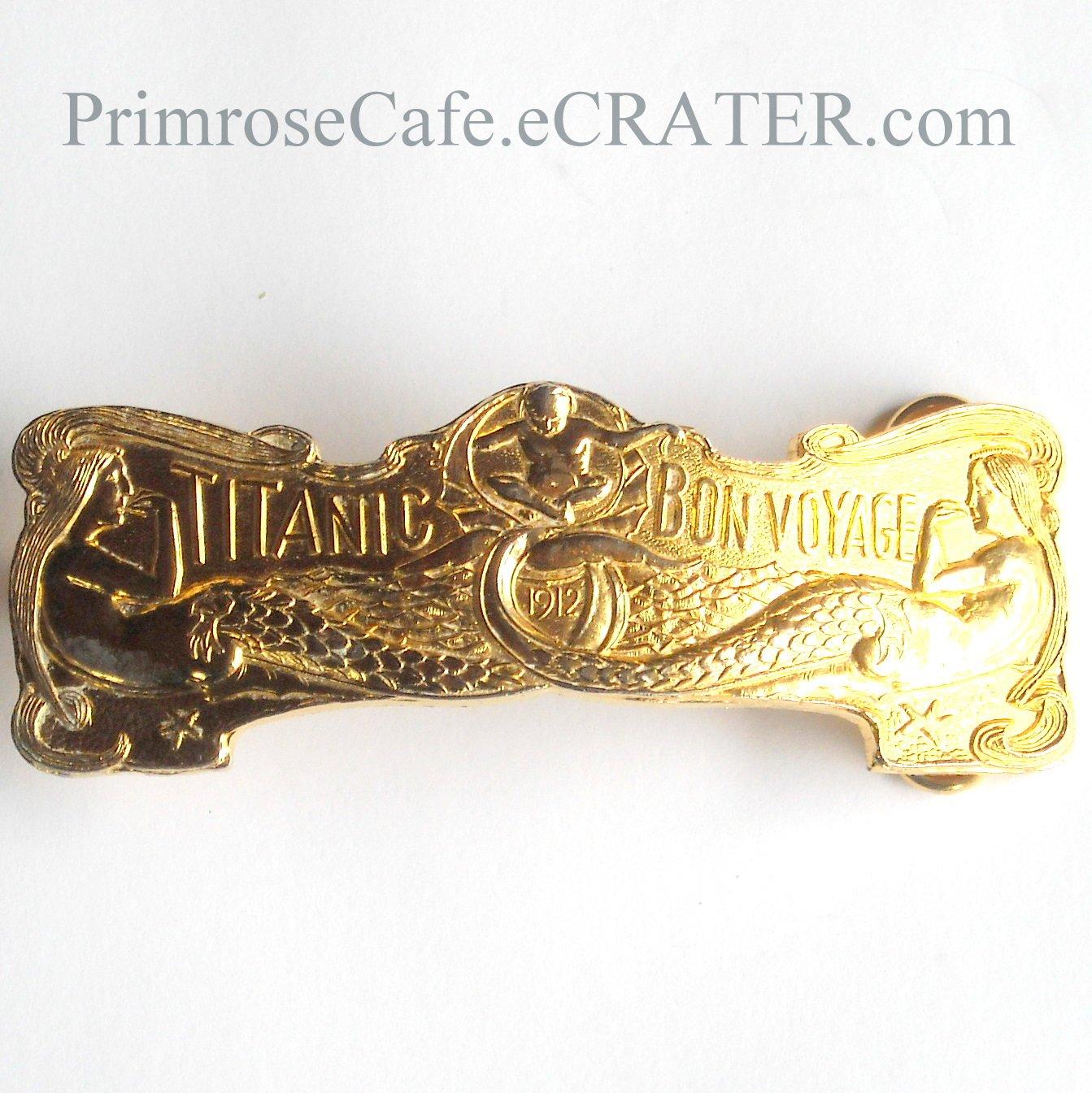Vintage Titanic Bon Voyage 1912 Mermaids French Brass Belt Buckle