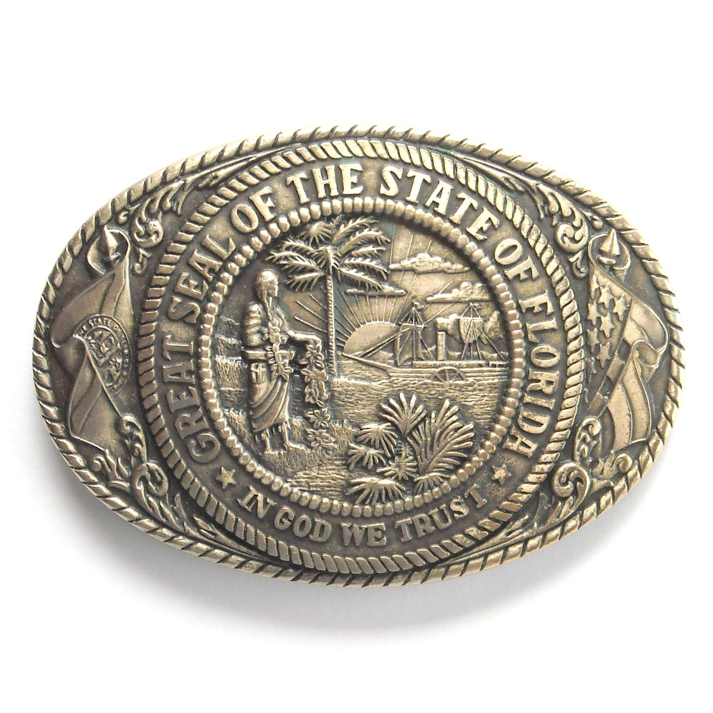 Vintage Tony Lama Great Seal Of The State Of Florida brass used belt buckle