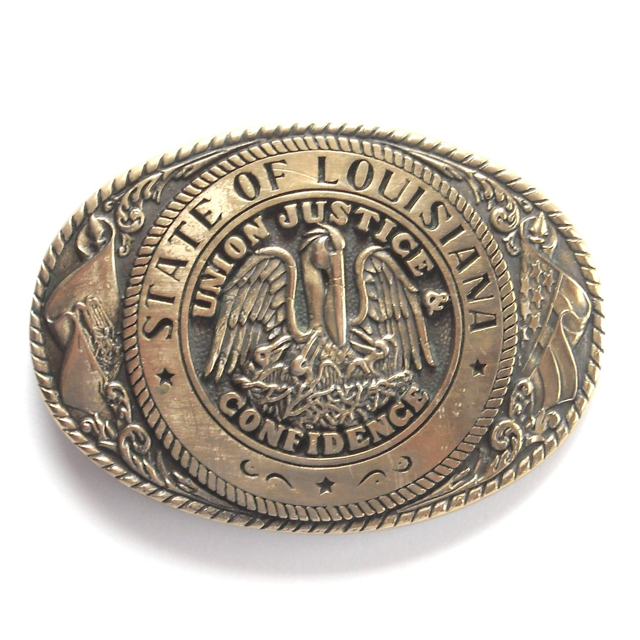Vintage Tony Lama Great Seal Of The State Of Louisiana brass belt buckle