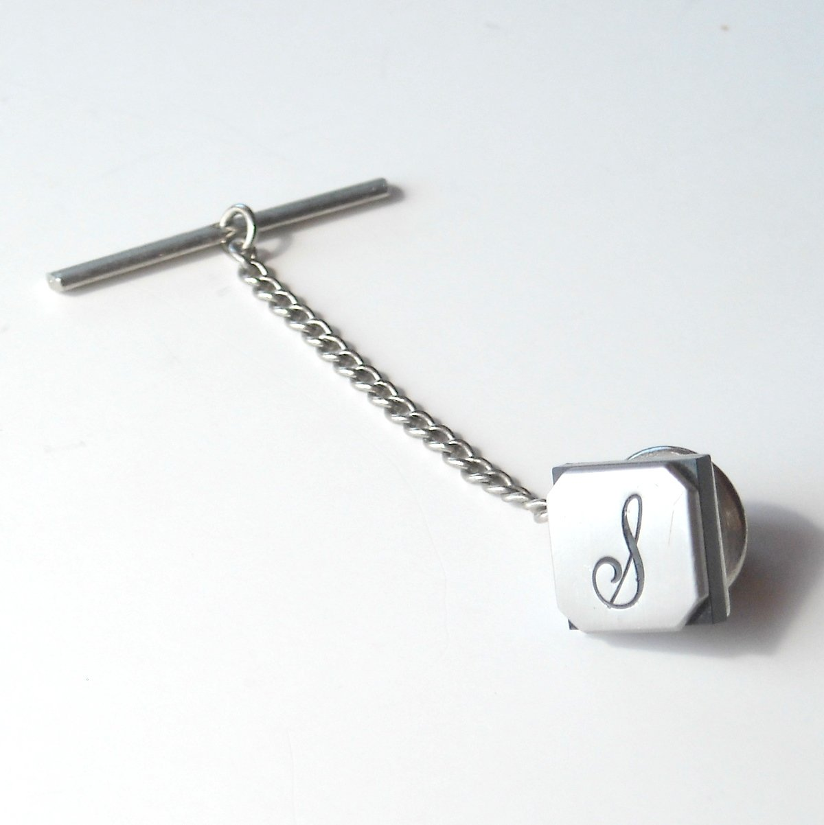 Vintage Swank Square Cursive Uppercase S Silver color alloy necktie tack clutch pin