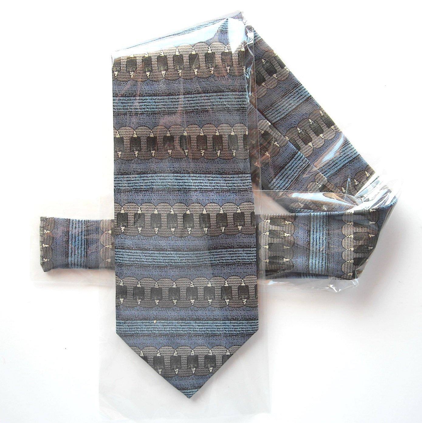Vintage No Label Hand Made Pastel Blue Brown Mens Silk Necktie Tie