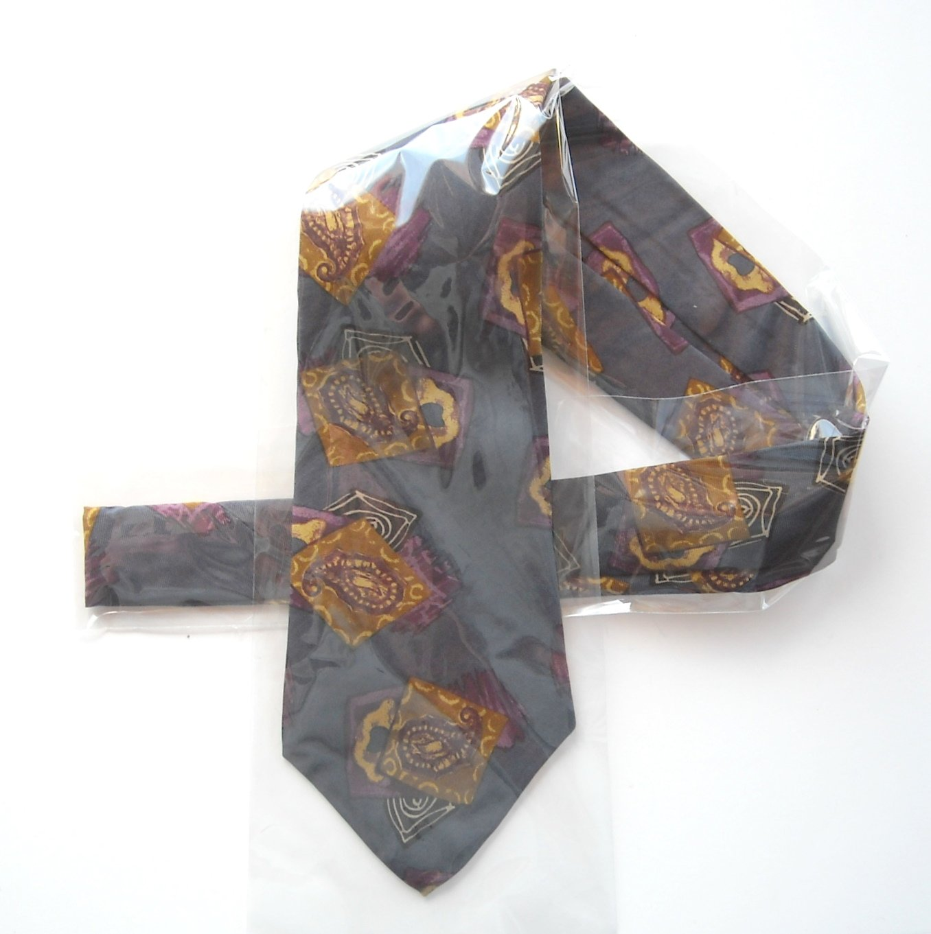 Claiborne Grey Blue Gold Mens Silk Necktie Tie