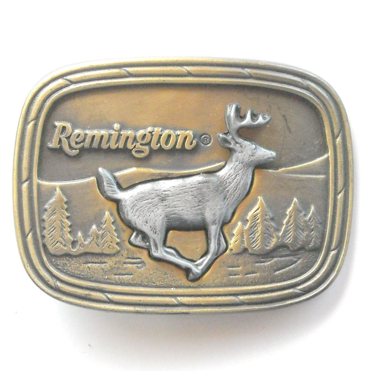 Vintage Remington Arms Running White Tailed Deer Brass metal alloy belt buckle