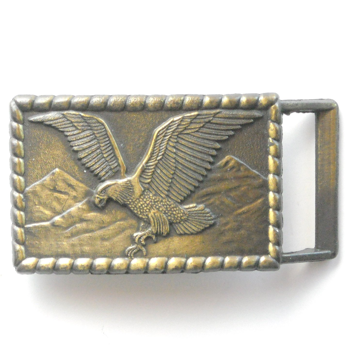 Vintage Western American Bald Eagle Brass metal alloy belt buckle