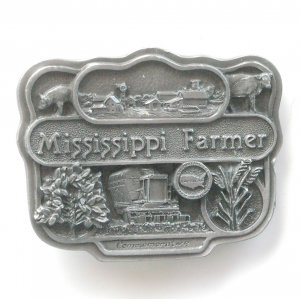 Bryant Inc 3D Mississippi Farmer Commemorative pewter metal alloy belt buckle