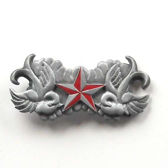 Red Death Star pewter alloy belt buckle