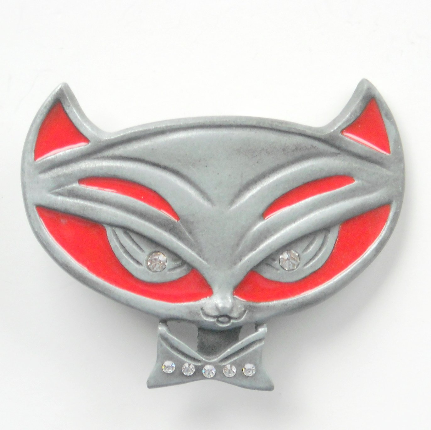 Pussycat Kitty Rhinestone Heavy Metal Red Enamel Belt Buckle