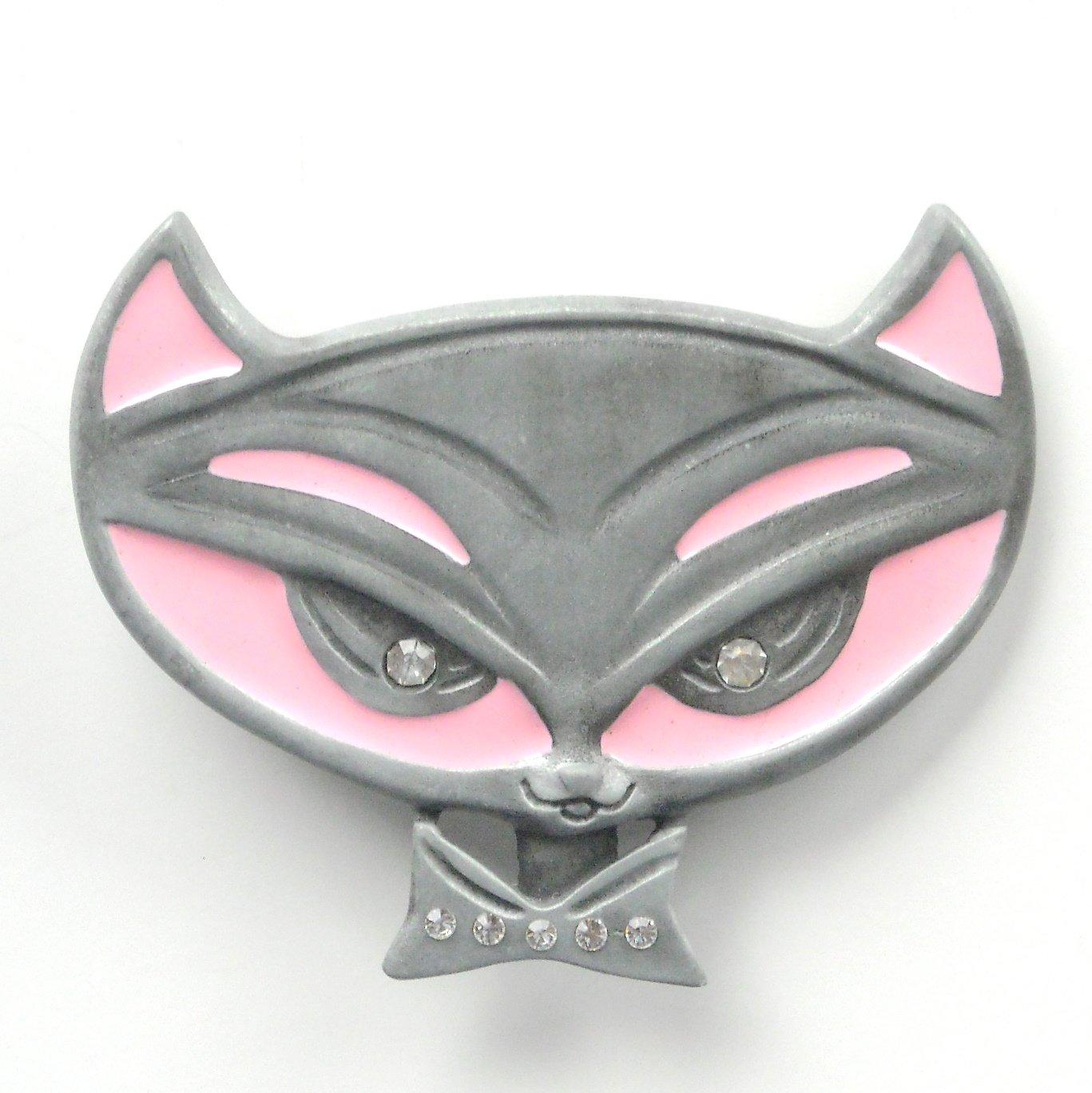 Pussycat Kitty Rhinestone Pink Enamel alloy belt buckle