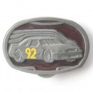 Race Car 92 C+J 1992 Nascar C&J Inc pewter alloy belt buckle #2