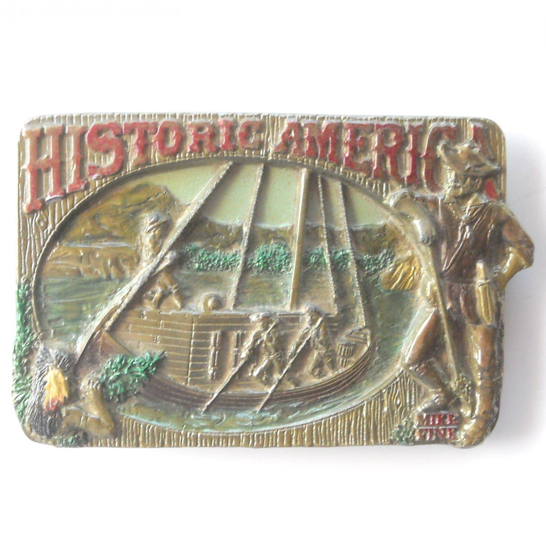 Mike Fink 1989 Historic America C&J Inc pewter alloy belt buckle