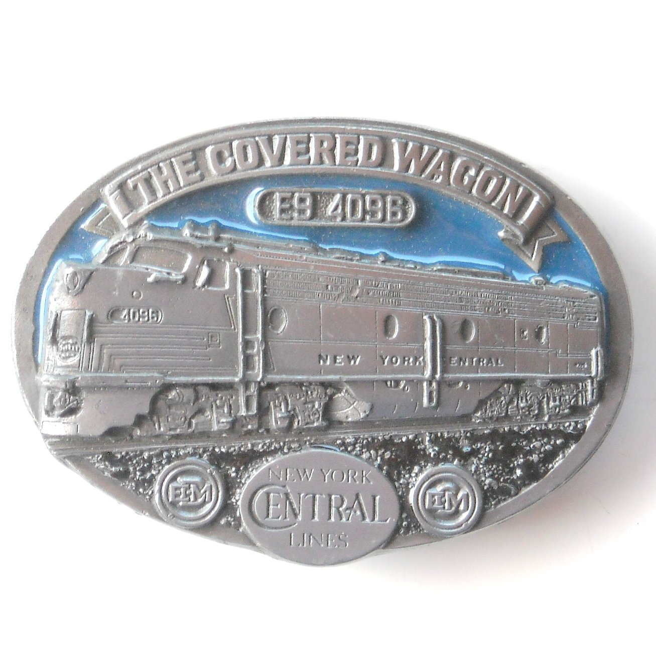 The Covered Wagon New York Central Lines C+J 1988 C&J Inc pewter alloy belt buckle